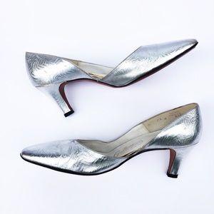 Vtg Galliano Christian Dior Silver Embossed Heels